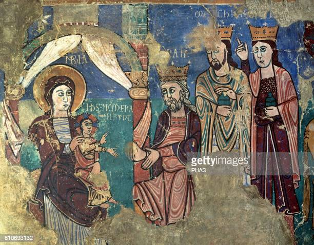 The Epiphany Romanic wall painting Detail From the romanic church of Navasa Diocesan Museum of Jaca