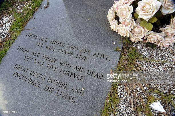 The epitaph on the grave of black civil rights worker James Chaney is seen along a rural road more than forty years after his murder June 8 2005 in...