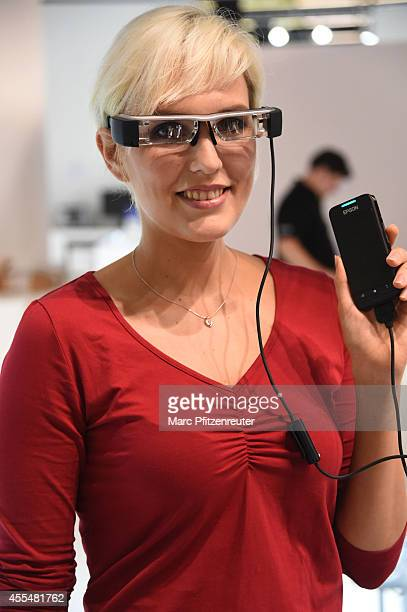 The Epson Moverio BT200 smart glasses are presented at the Photokina 2014 trade fair on September 15 2014 in Cologne Germany Photokina is the world's...