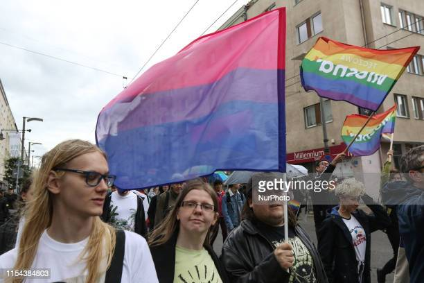 The Equality March participants are seen in Gdynia, Poland on 7 July 2019 Second Equality March in Gdynia is organised to support LGBTQ people rights...