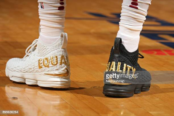 The Equality sneaker of LeBron James of the Cleveland Cavaliers during the game against the Washington Wizards on December 17 2017 at Capital One...