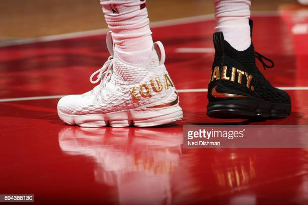 The Equality sneakers of LeBron James of the Cleveland Cavaliers during game against the Washington Wizards on December 17 2017 at Capital One Arena...
