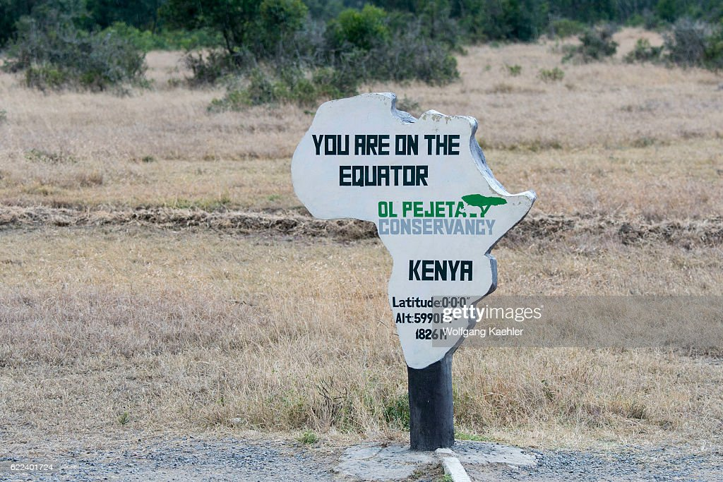 The Equator sign and marking in the Ol Pejeta Conservancy in... : News Photo