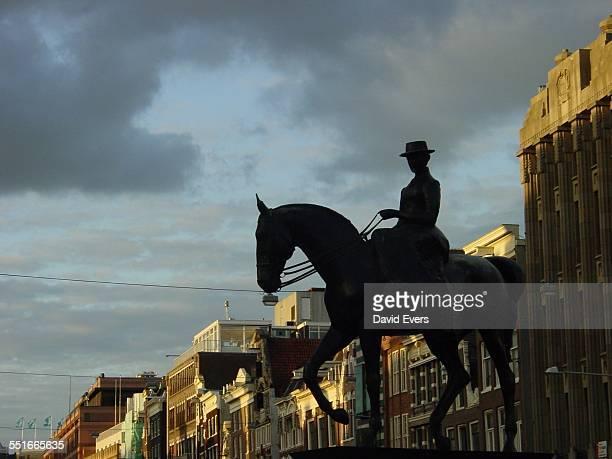 The equestrian statue of Queen Wilhelmina