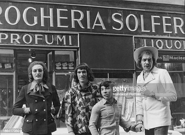 The Equipe 84 band in front of the grocery store of Solferino street They bought the grocery store and have it turned into a clothing store Milan 1967