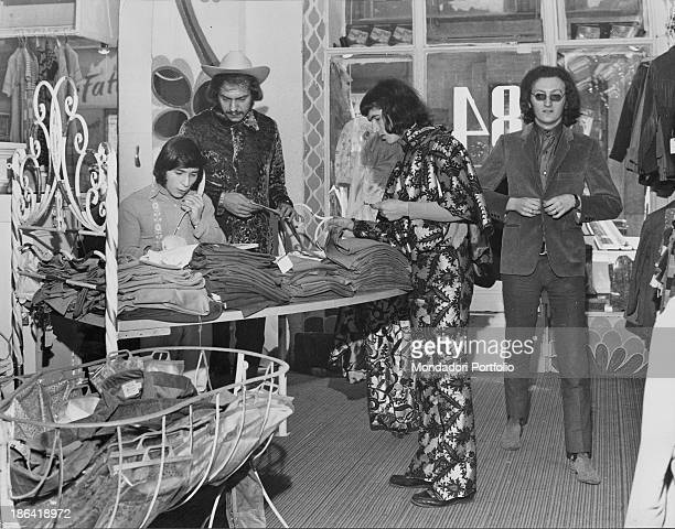 The Equipe 84 band in the grocery store of Solferino street They bought the grocery store and have it turned into a clothing store Milan 1967