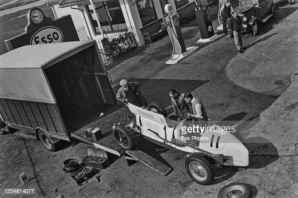 The ERA R7B of Arthur Dobson is unloaded from it's transporter before JCC International Trophy race on 6th May 1939 at the Brooklands motor circuit...