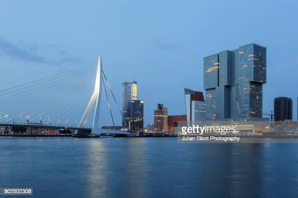 the erasmusbrug and modern architecture in rotterdam. - rotterdam stock pictures, royalty-free photos & images
