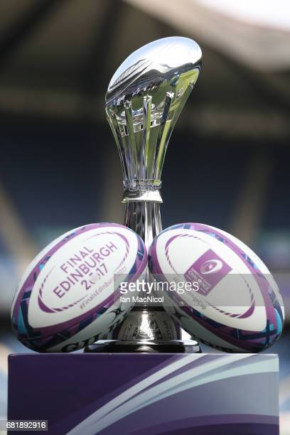 The ERC Challenge Cup trophy is displayed ahead of the ERC Challenge Cup final between Gloucester and Stade Francais at Murrayfield Stadium on May 11...