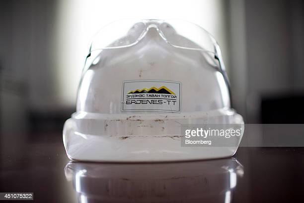 The Erdenes Tavan Tolgoi LLC logo is displayed on a safety helmet at the Tavan Tolgoi coal deposit developed by Erdenes TT in Tsogttsetsii Omnogovi...