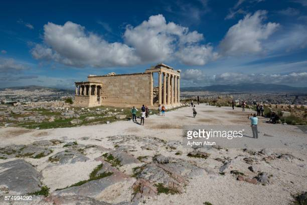 the erechtheion temple and the porch of the caryatids in athens,greece - ポセイドン ストックフォトと画像