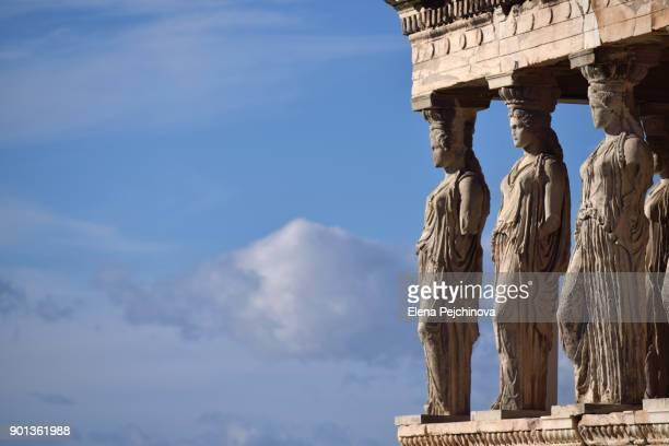the erechtheum caryatids, athens, greece - ancient greece photos stock pictures, royalty-free photos & images