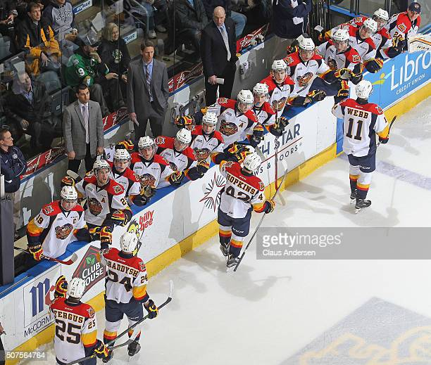 The Erie Otters celebrate a goal against the London Knights during an OHL game at Budweiser Gardens on January 29 2016 in London Ontario Canada The...