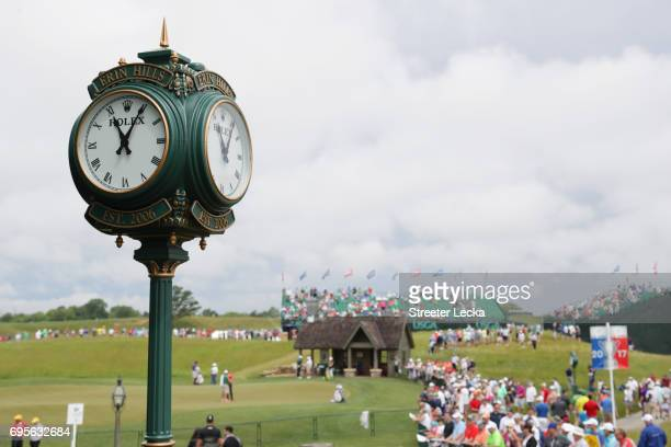 The Erin Hills Rolex clock is seen on the course during a practice round prior to the 2017 U.S. Open at Erin Hills on June 13, 2017 in Hartford,...