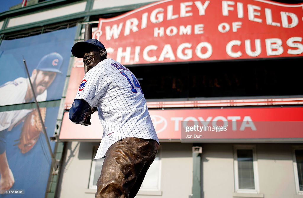 The Ernie Banks Statue wears a jersey while in front of Wrigley Field in support of the Chicago Cubs during their National League Wild Card game against the Pittsburgh Pirates on October 7, 2015 in Chicago, Illinois.