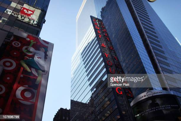 The Ernst and Young building in Times Square is viewed on December 20 2010 in New York City It has been reported that New York State prosecutors are...