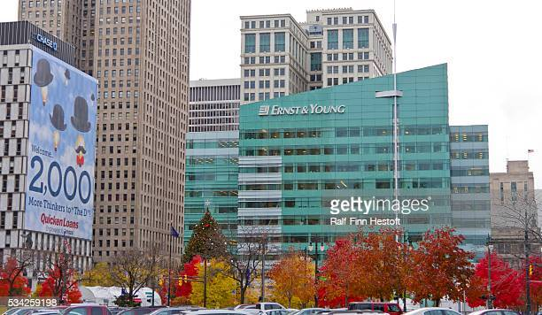 The Ernst and Young Building on Campus Martius Park in downtown Detroit Michigan