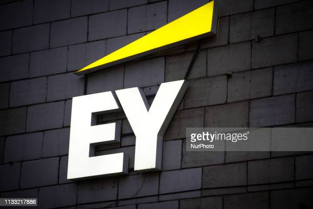 The Ernst and Young logo is seen in central Kyiv Ukraine on March 27 2019
