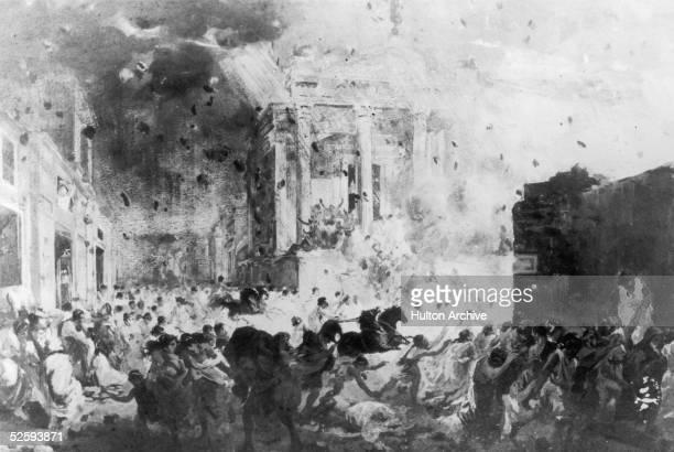 The eruption of Mount Vesuvius destroys the Roman city of Pompeii in AD 79
