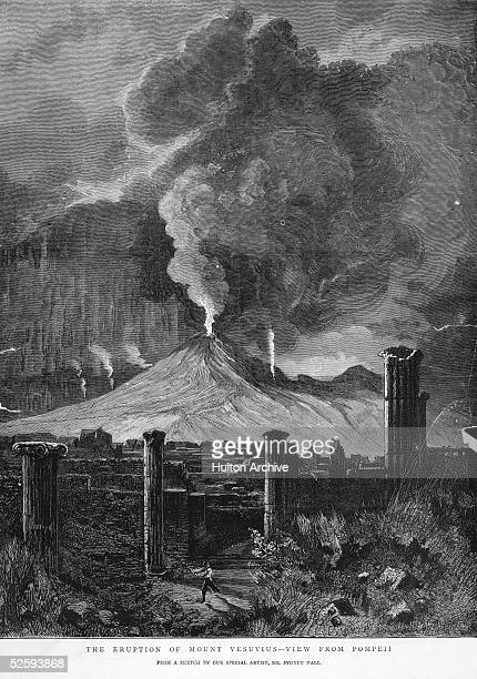 The eruption of Mount Vesuvius on 26th April 1872 seen from the ruins of ancient Pompeii An engraving from a sketch by Sydney Hall published in the...