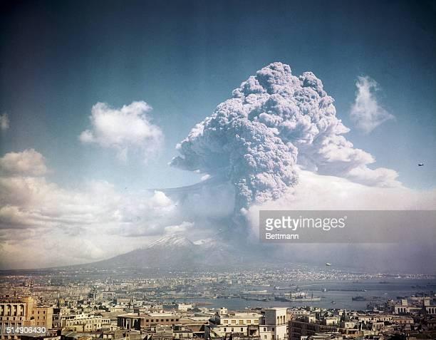 The eruption of Mt Vesuvius Italy UPI color slide