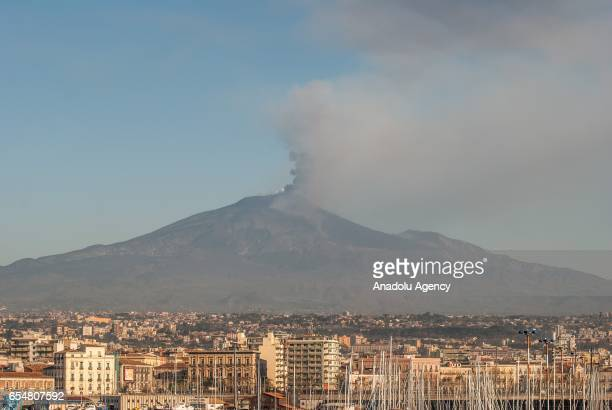 The eruptive activity of the volcano Etna's southeast crater is seen from 2100 meters above mean sea level on March 17 2017 in Catania Italy Mount...