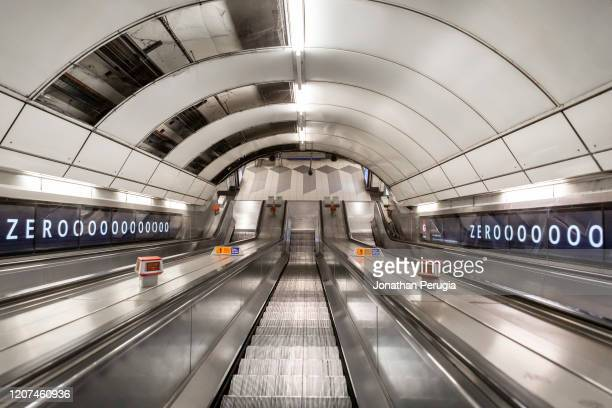 The escalator at Bank Station is empty in what would normally be the morning rush hour in the City of London on March 17th 2020 The financial...