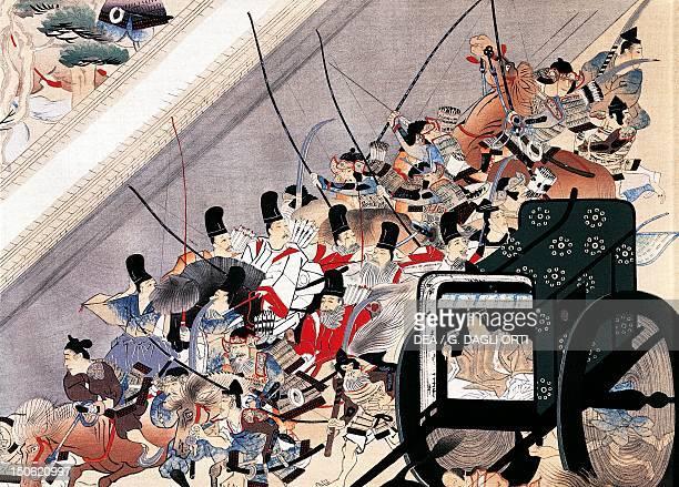 The escape from the palace scene from Heiji monogatari emaki by Keion Sumiyoshi Japan Japanese Civilisation Kamakura period XIII century