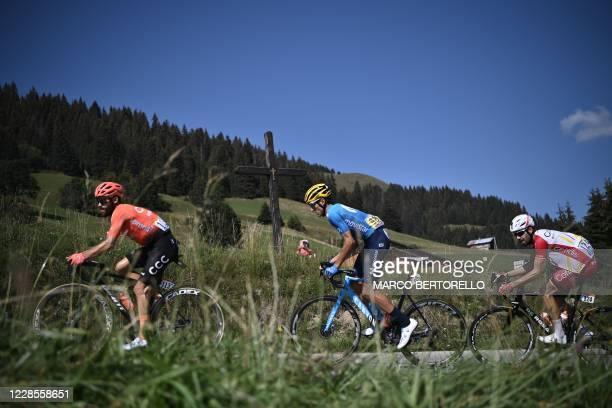 The escapees Team CCC rider Germany's Simon Geschke, Team Movistar rider Spain's Carlos Verona and Team Cofidis rider Spain's Jose Herrada Lopez ride...