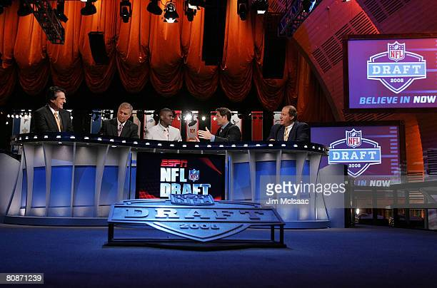 The ESPN broadcast team of Mel Kiper Chris MortensenKeyshawn Johnson Steve Young and Chris Berman work the 2008 NFL Draft on April 26 2008 at Radio...