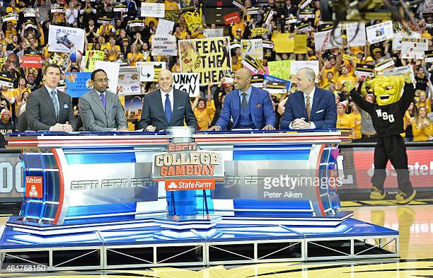 The ESPN Gameday cast Rece Davis Stephen A Smith Seth Greenberg Jay Williams and Jay Bilas address the Wichita State crowd prior to the game between...