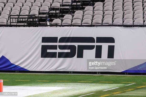 The ESPN logo on a banner before the Fiesta Bowl college football game between the Oregon Ducks and the Iowa State Cyclones on January 2, 2021 at...