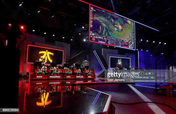 The esports match of Fnatic playing Misfits in the League of Legends European Championship Series at the Riot Games TV studio in Berlin on February...