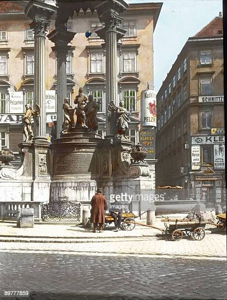 The espousal fountain at the Hoher Markt square Vienna first district Handcolored lantern slide Around 1905