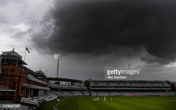 The Essex side leave the field as rain delays play during Day 2 of the Bob Willis Trophy Final between Somerset and Essex at Lord's Cricket Ground on...
