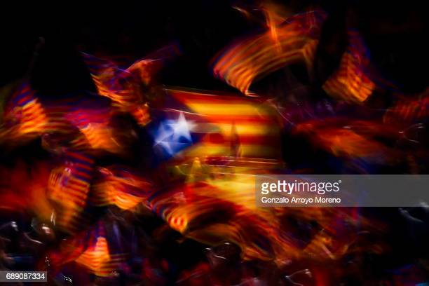 The estelada flag symbol of the independence of Catalonya is exhibited form the grandtsands where FC Barcelona are attending the Copa Del Rey Final...