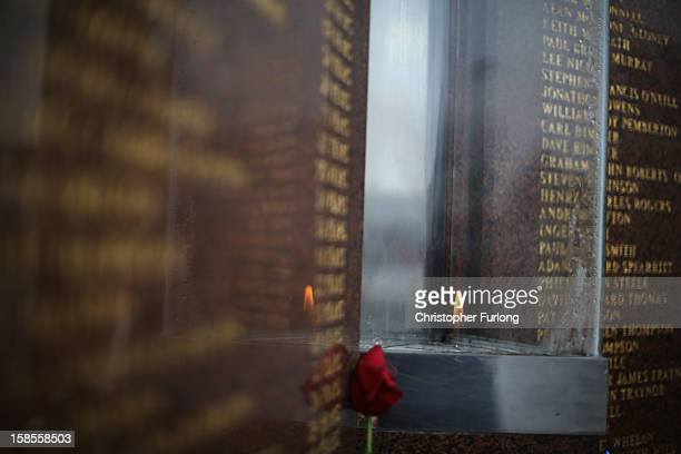 The eternal flame at the Hillsborough Memorial outside Liverpool Football Club burns on as the High Court quashes the 'Accidental Death' verdict on...