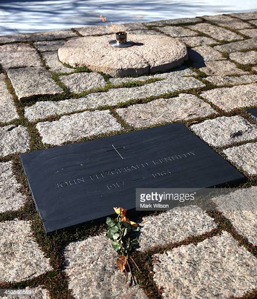 The eternal flame burns at the gravesite of the 35th President of the United States John F Kennedy at Arlington Cemetery on November 19 2013 in...