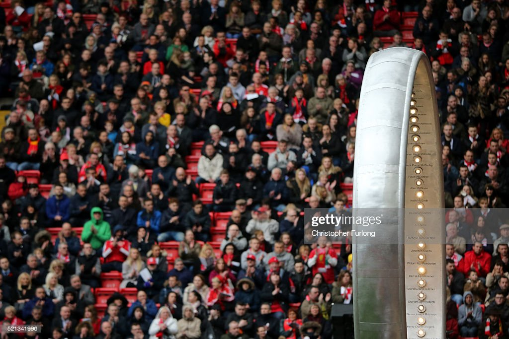 The 'Eternal Ring' is seen during a memorial service to mark the 27th anniversary of the Hillsborough disaster, at Anfield stadium on April 15, 2016 in Liverpool, England. Thousands of fans, friends and relatives took part in the final Anfield memorial service for the 96 victims of the Hillsborough disaster. Earlier this year relatives of the victims agreed that this year's service would be the last. Bells across the City of Liverpool rang out during a one minute silence in memory of the 96 Liverpool supporters who lost their lives during a crush at an FA Cup semi-final match against Nottingham Forest at the Hillsborough football ground in Sheffield, South Yorkshire in 1989.