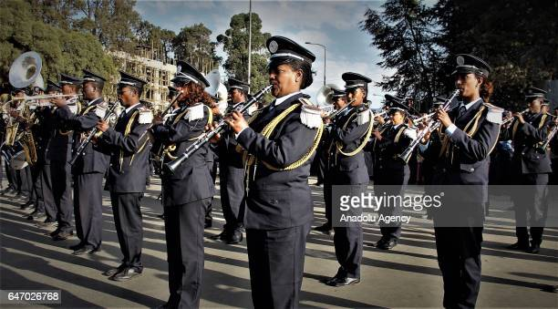 The Ethiopian Army Band perform during the celebration of the 121st Anniversary of Ethiopia's Battle of Adwa at King II Menelik Square in Addis Ababa...