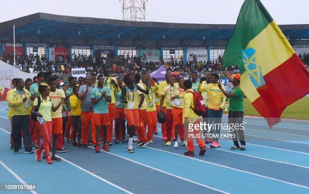 The Ethiopian contingent marches during the opening of the 21st African Senior Athletics Championships at the Stephen Keshi Stadium in Asaba Delta...