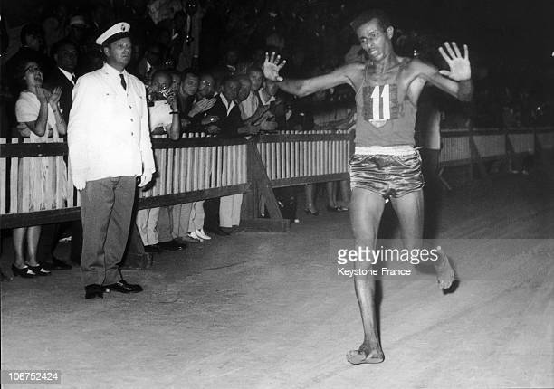 The Ethiopian Runner, Abebe Bikila At The Finish Line. Nighttime September 11, 1960 At The Olympic Games In Rome; Bikila Created A Stir By Running...