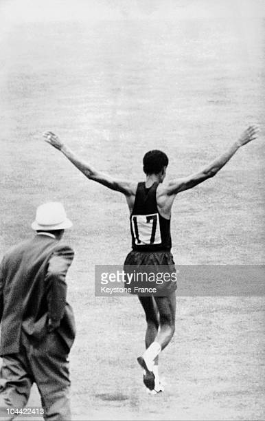 The Ethiopian Runner Bikila Abebe Jumping For Joy After Having Won The Marathon At The Olympic Summer Games Of Tokyo In 1964