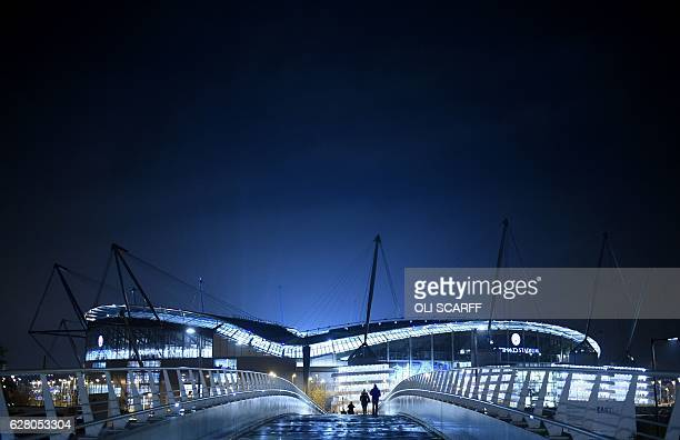 The Etihad Stadium is pictured in Manchester northern England on December 6 ahead of the UEFA Champions League group C football match between...