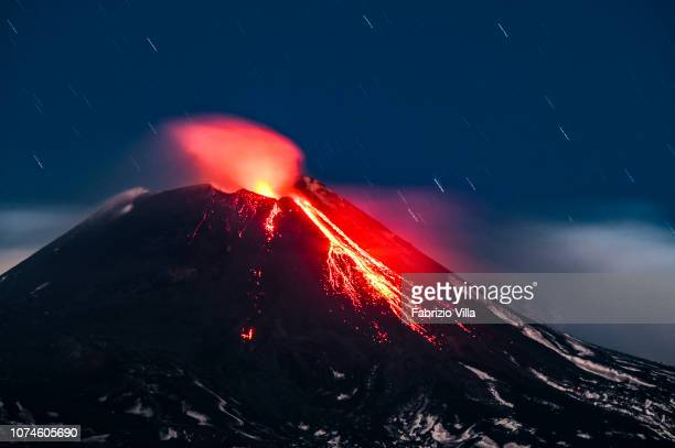 The Etna Volcano erupts from the southeast crater spewing lava and ash on December 22 2018 in Catania Italy