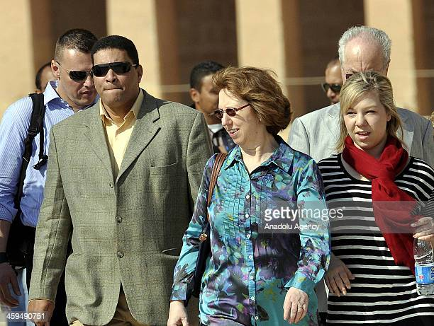 The EU High Representative for Foreign and Security Policy Catherine Ashton visits historical sites in Egypt's southern city of Luxor with her family...