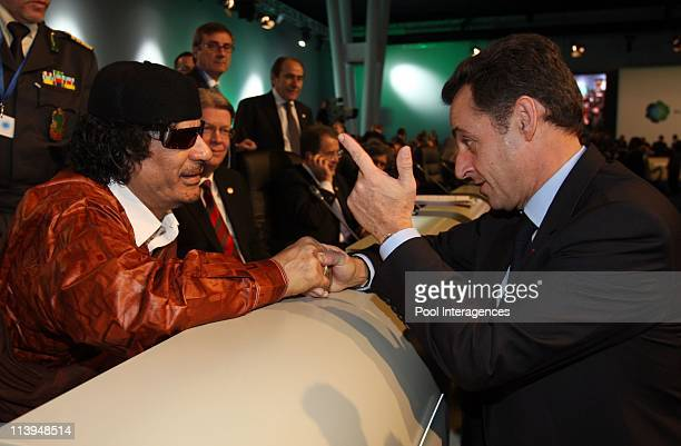 The EUAfrica summit In Lisbon Portugal On December 08 2007Libyan leader Moamer Kadhafi and French President Nicolas Sarkozy