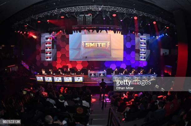 The eUnited and Spacestation Gaming esport teams play in a Smite video game competition during the grand opening of Esports Arena Las Vegas the first...