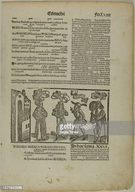 The Eunuch from Terenti cum directorio, Plate 29 from Woodcuts from Books of the 15th Century portfolio assembled 1929, Unknown Artist , printed and...