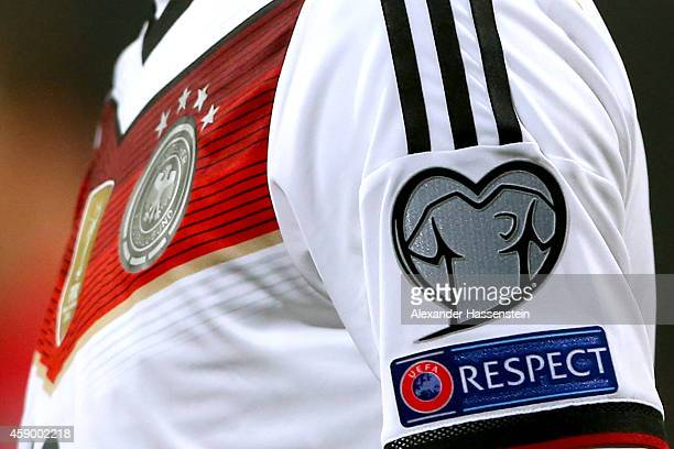 The EURO 2016 badge is displayed on a match jersey of Germany during the EURO 2016 Group D Qualifier match between Germany and Gibraltar at Grundig...